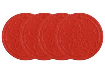 Imagen de 4 mini salvamanteles silicona rojo