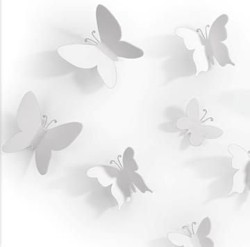 Imagen de Decoración de pared blanco x9 MARIPOSA