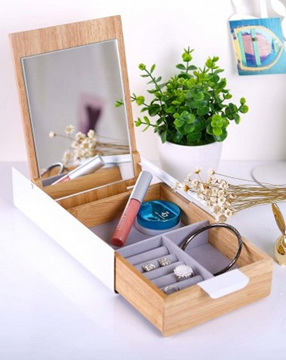 Imagen de Caja con espejo blanco/natural REFLEXION
