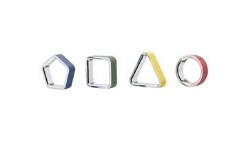 Imagen de Set 4 aros para servilletas surtido GEO
