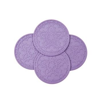 Imagen de 4 mini salvamanteles silicona violeta