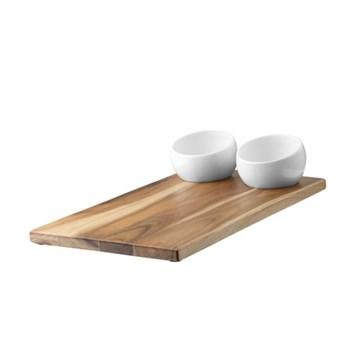 Imagen de Tabla + bowls para picada blanco/natural PLATO